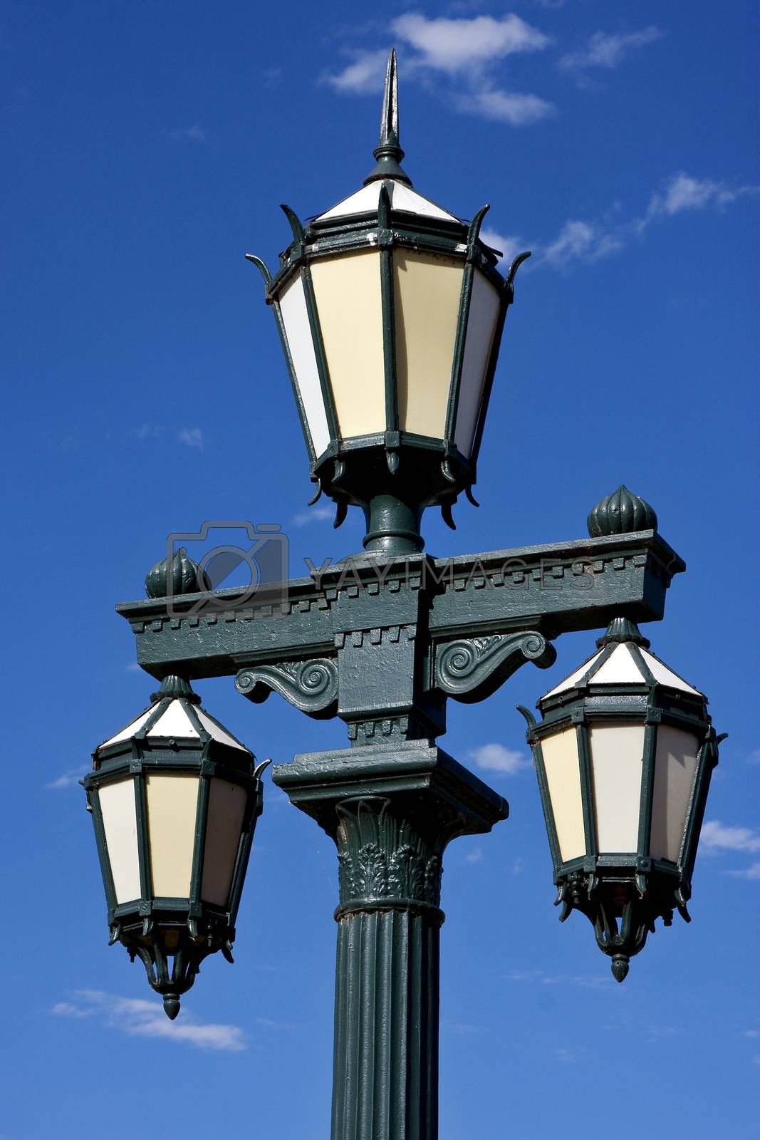 old green street lamp and clouds  by lkpro