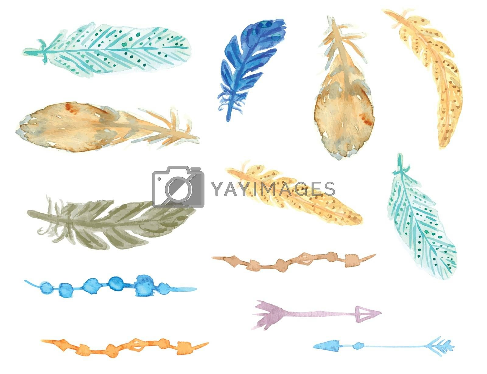 Royalty free image of Set of ethnic feathers. Ethnic seamless pattern in native style. by mcherevan