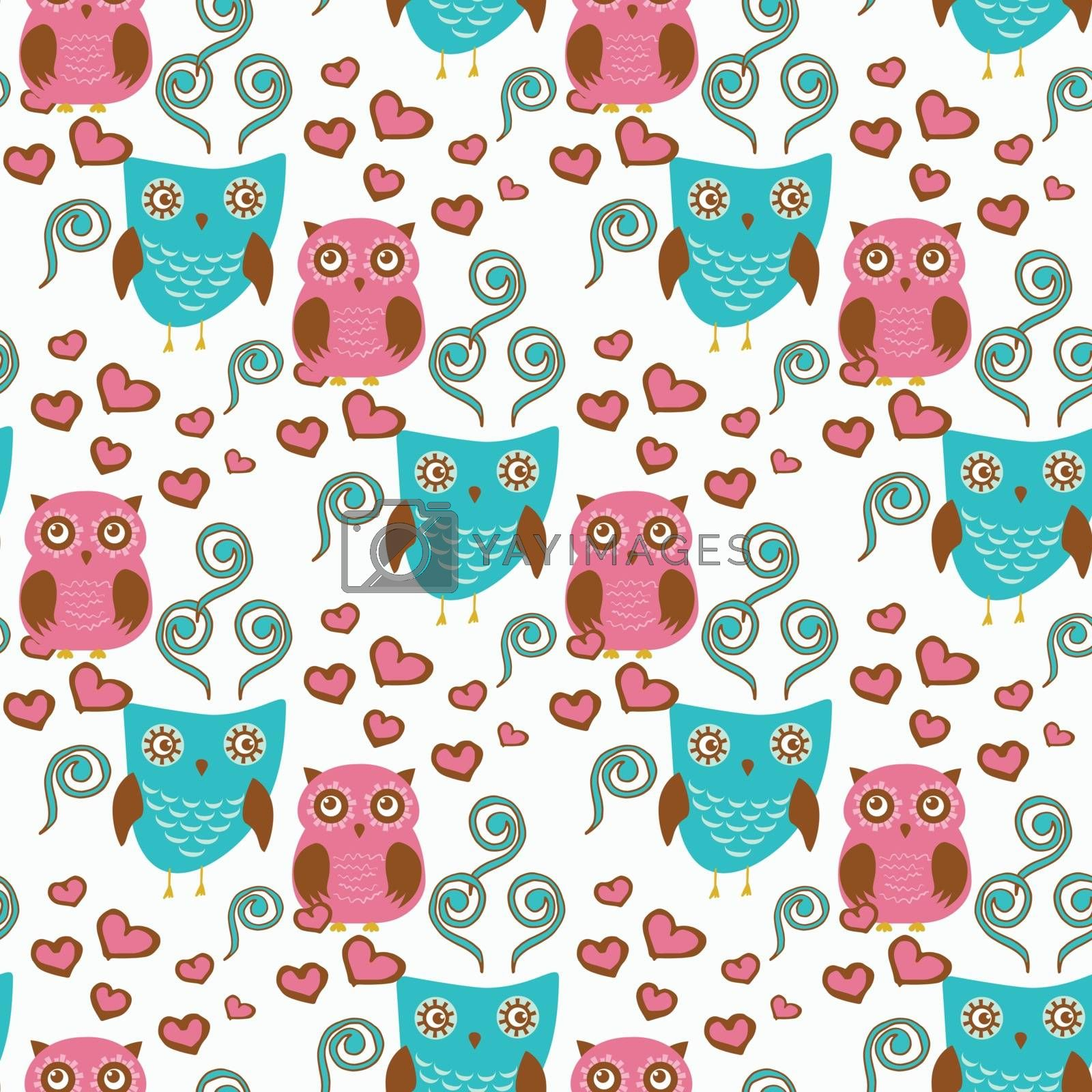 Royalty free image of Cute seamless pattern with owls couple. Blue and pink owls. Vector illistration by mcherevan