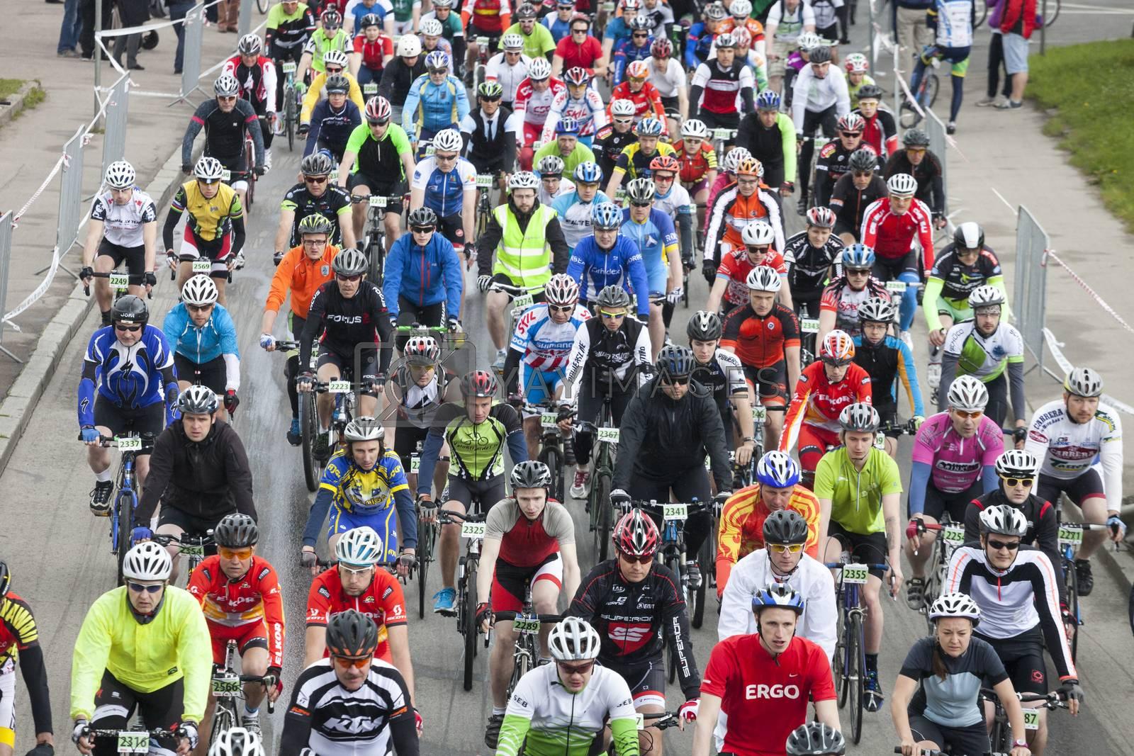 Royalty free image of Mass start of Riga Cycling Marathon Folk Distance by ints