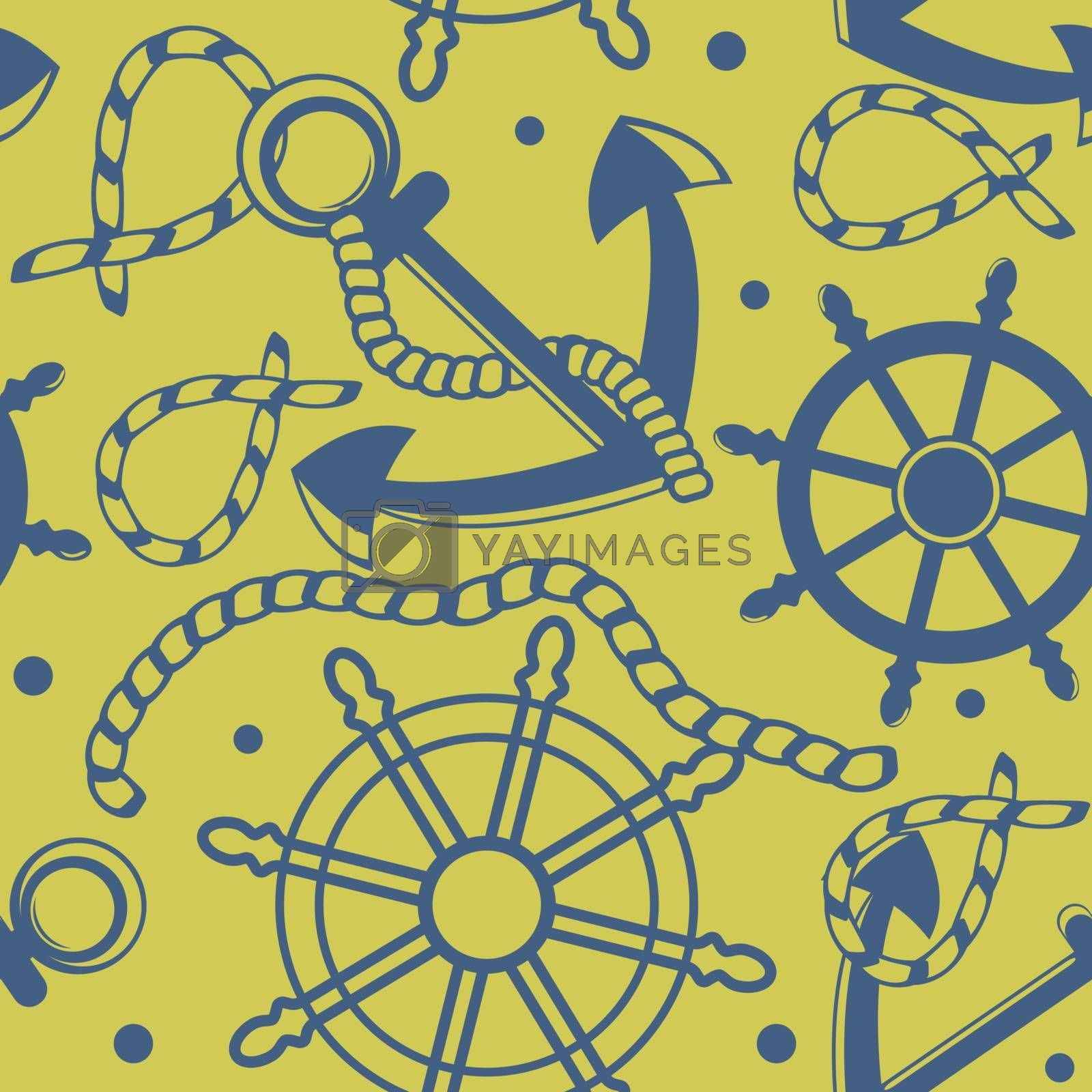 Royalty free image of Seamless pattern with marine symbols by mcherevan
