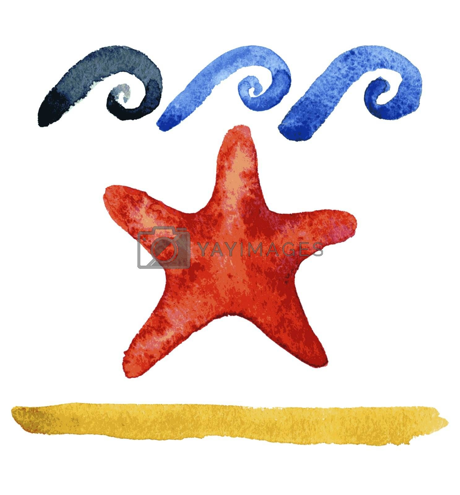 Set of hand drawn watercolor starfishes  by OlgaBerlet