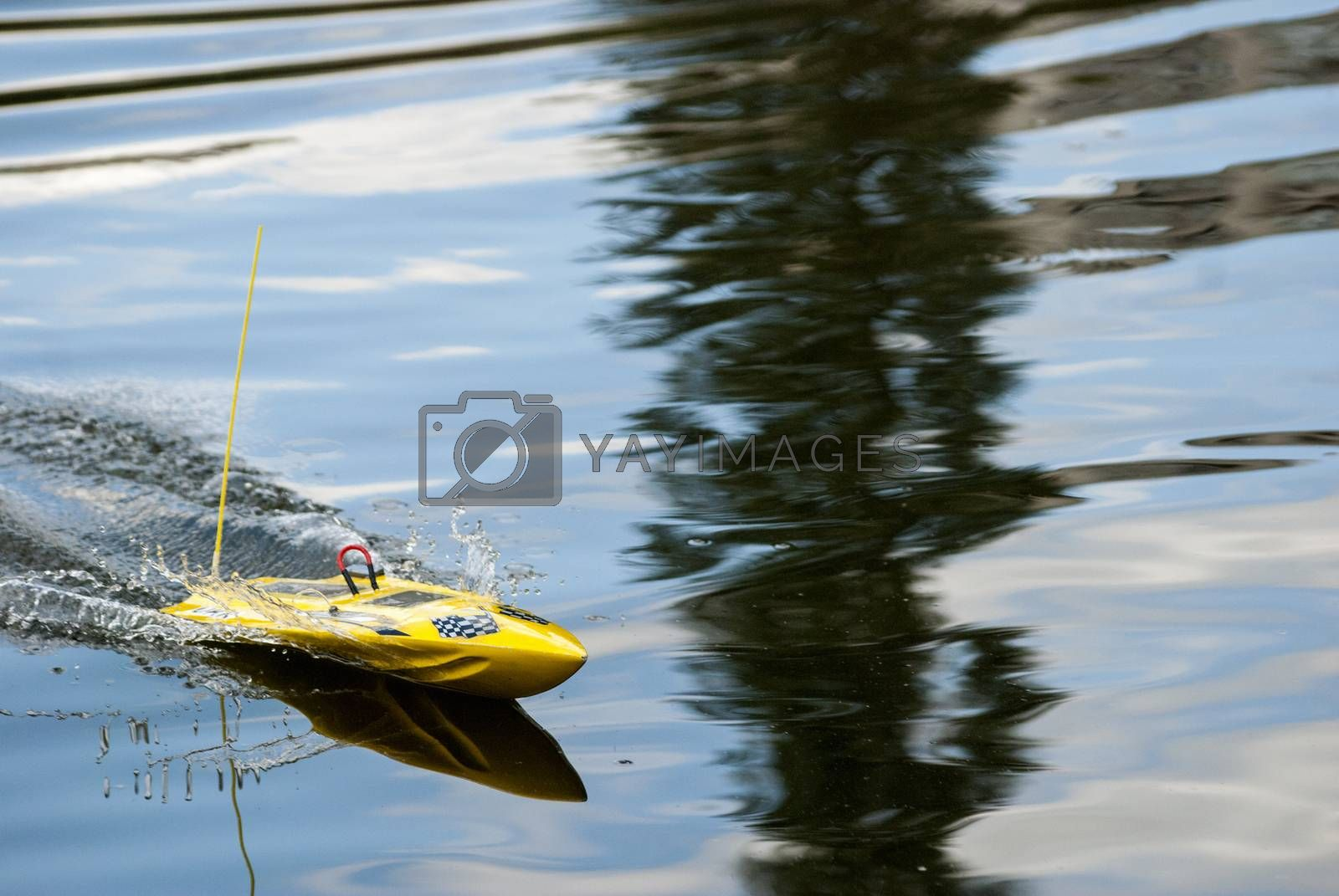 Royalty free image of radio-controlled boat launch by Morfey713