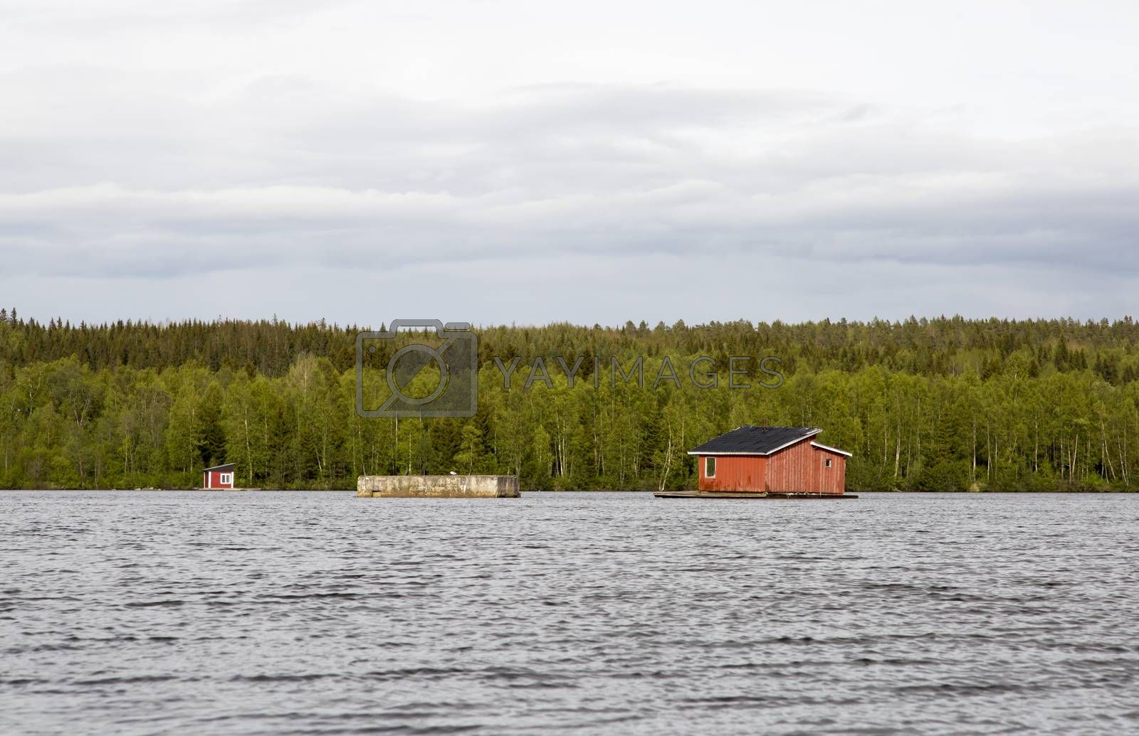 Royalty free image of House in the middle of River in Umea, Sweden by Emmoth