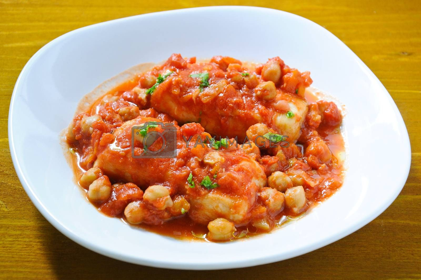 Royalty free image of Salt cod with chickpeas and tomatoes Roman by gringox