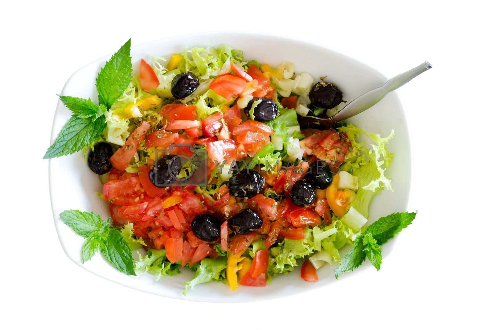 Isolated fresh plain salad garnished with mint by coskun
