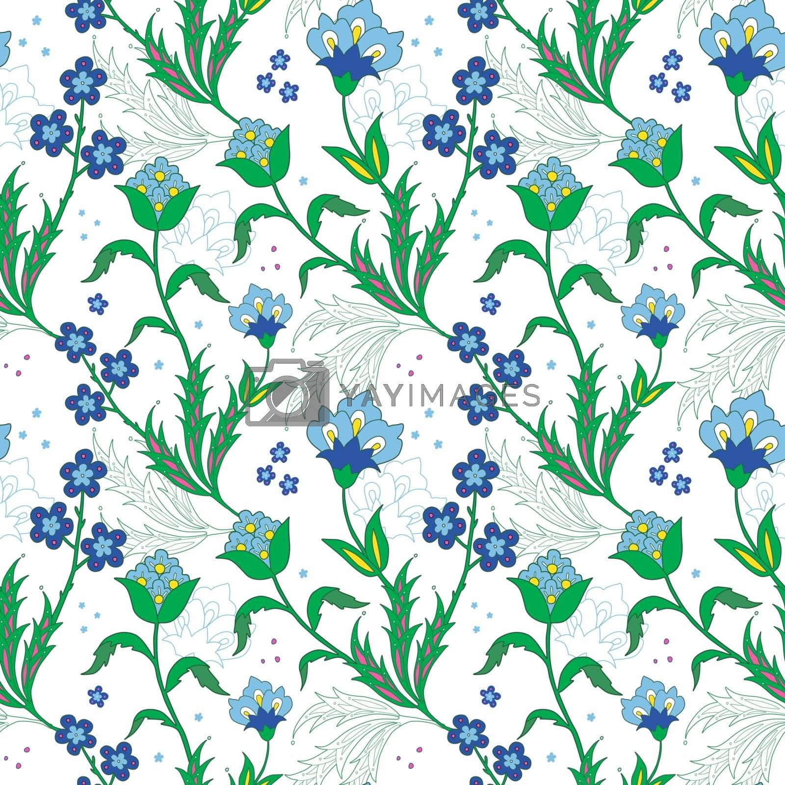 Vector turkish field flowers seamless pattern graphic design