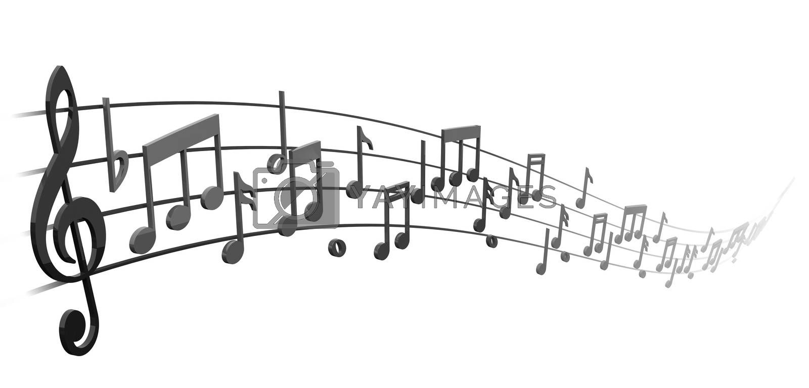 Royalty free image of notes on the musical staff by XStudio3D