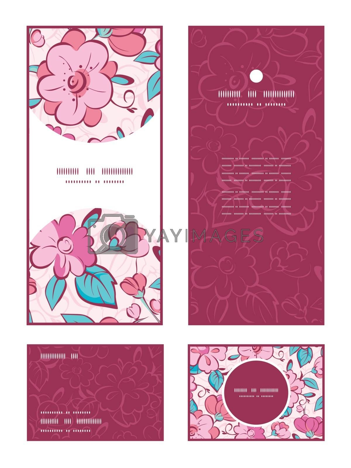 Vector pink blue kimono flowers vertical frame pattern invitation greeting, RSVP and thank you cards set graphic design