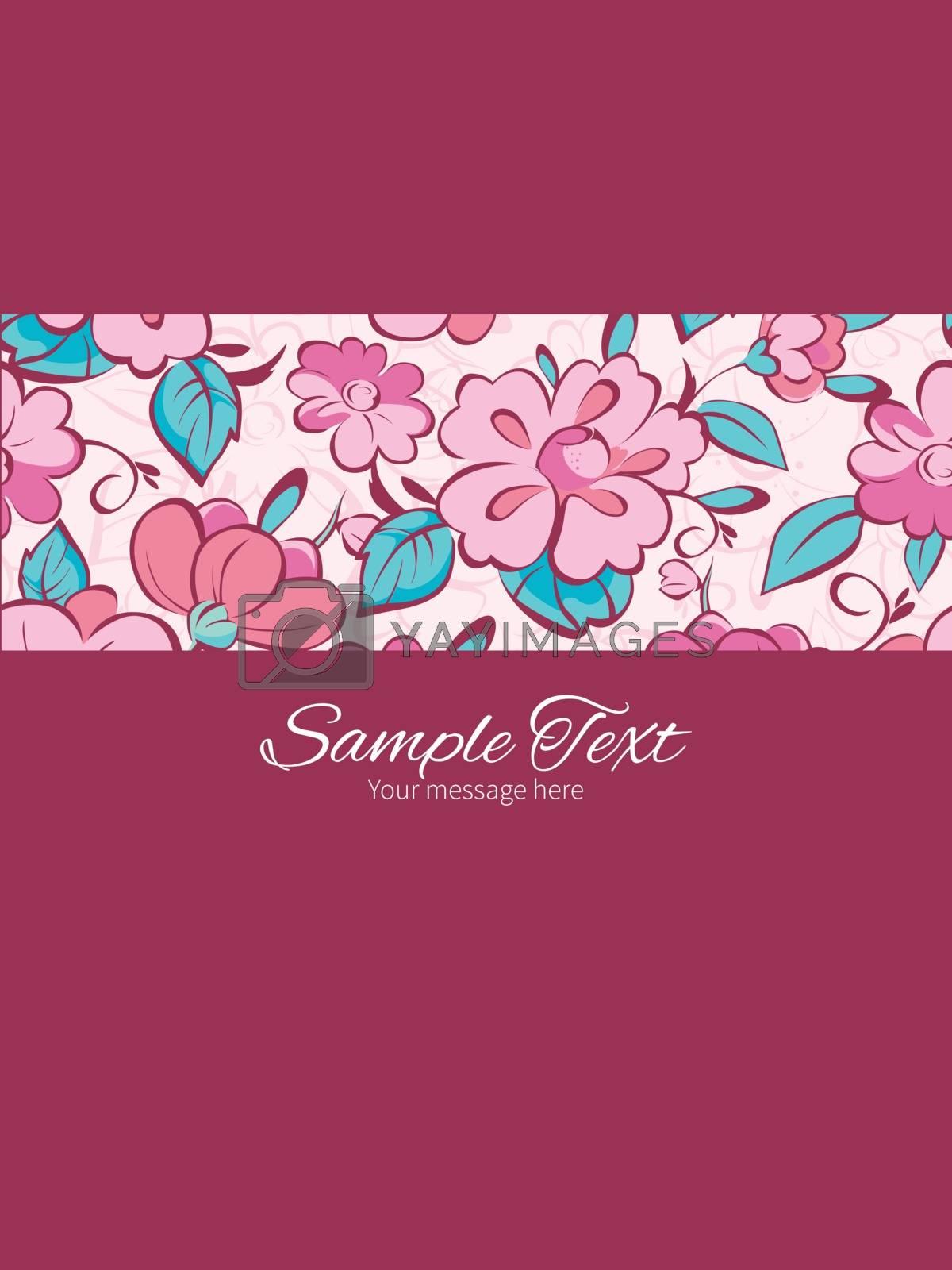 Vector pink blue kimono flowers stripe frame vertical card invitation template graphic design