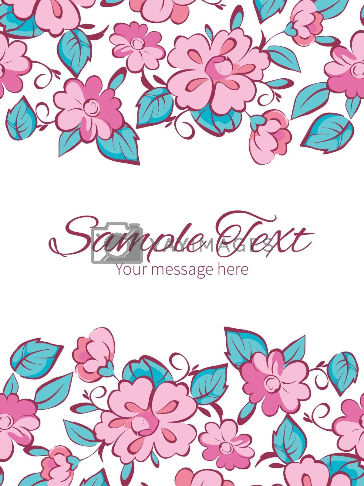 Royalty free image of Vector pink blue kimono flowers vertical double borders frame in by Oksancia