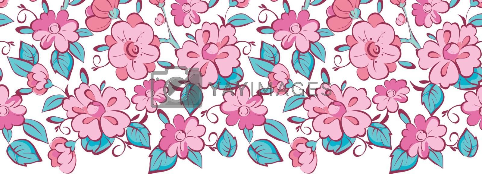 Vector pink blue kimono flowers horizontal border seamless pattern background graphic design