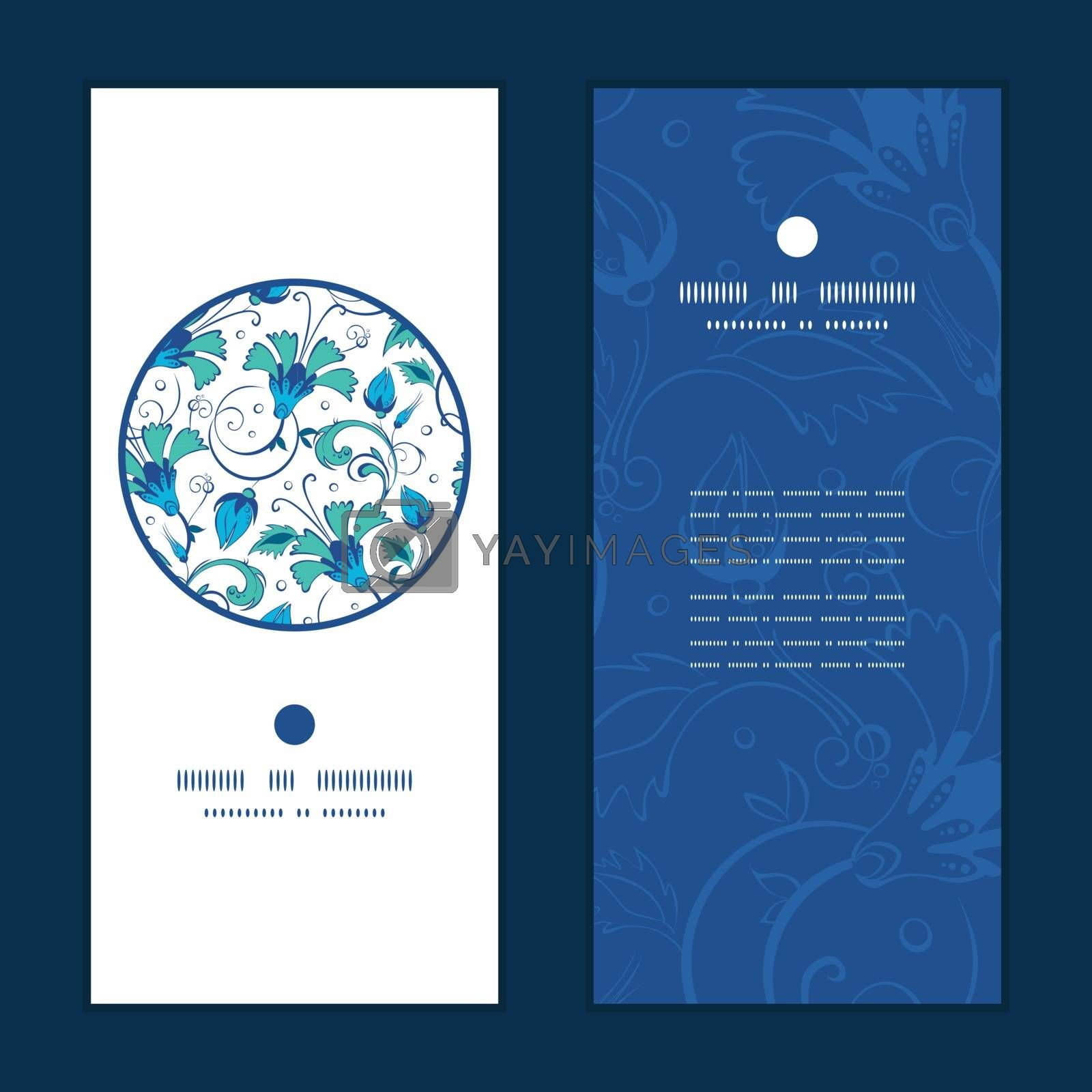 Royalty free image of Vector blue green swirly flowers vertical round frame pattern in by Oksancia