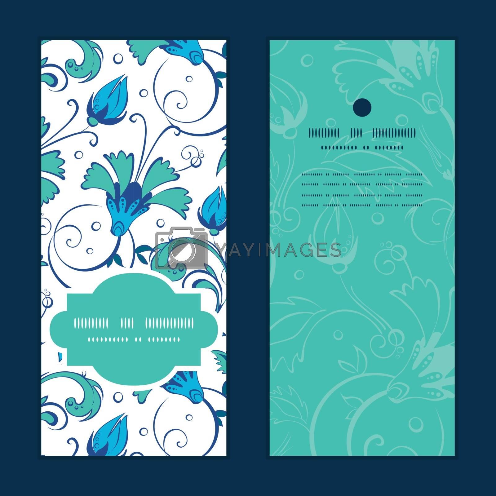 Royalty free image of Vector blue green swirly flowers vertical frame pattern invitati by Oksancia