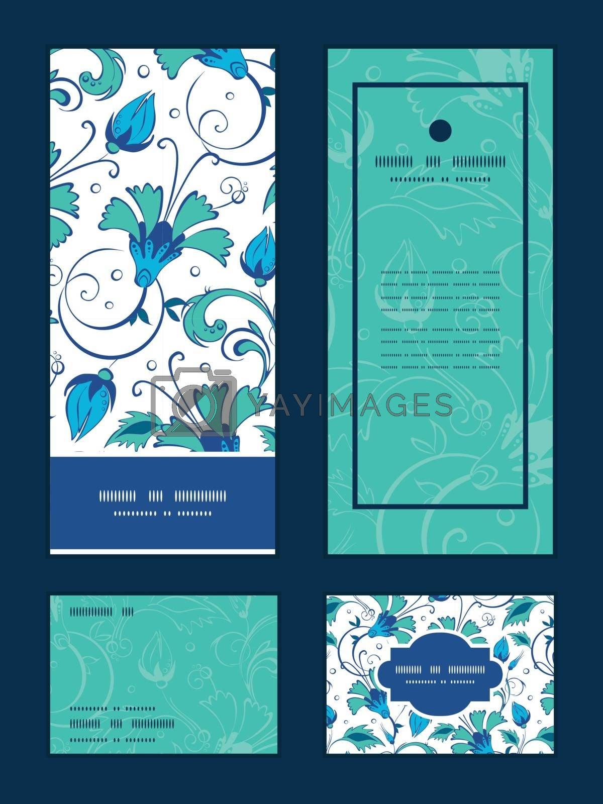 Vector blue green swirly flowers vertical frame pattern invitation greeting, RSVP and thank you cards set graphic design