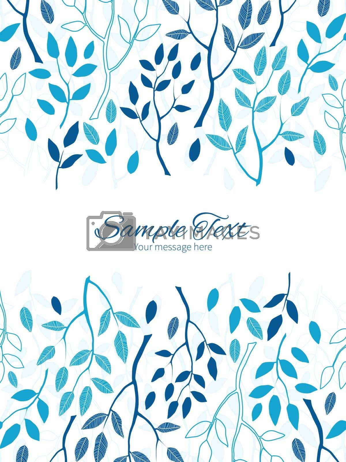 Vector blue forest vertical double borders frame invitation template graphic design