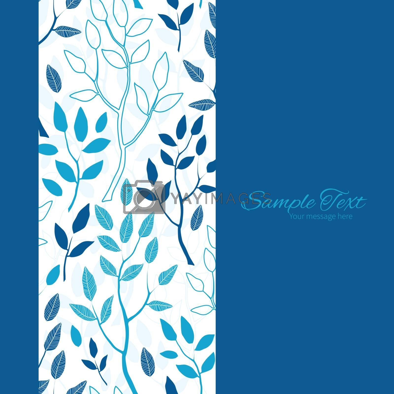 Vector blue forest vertical frame seamless pattern background graphic design