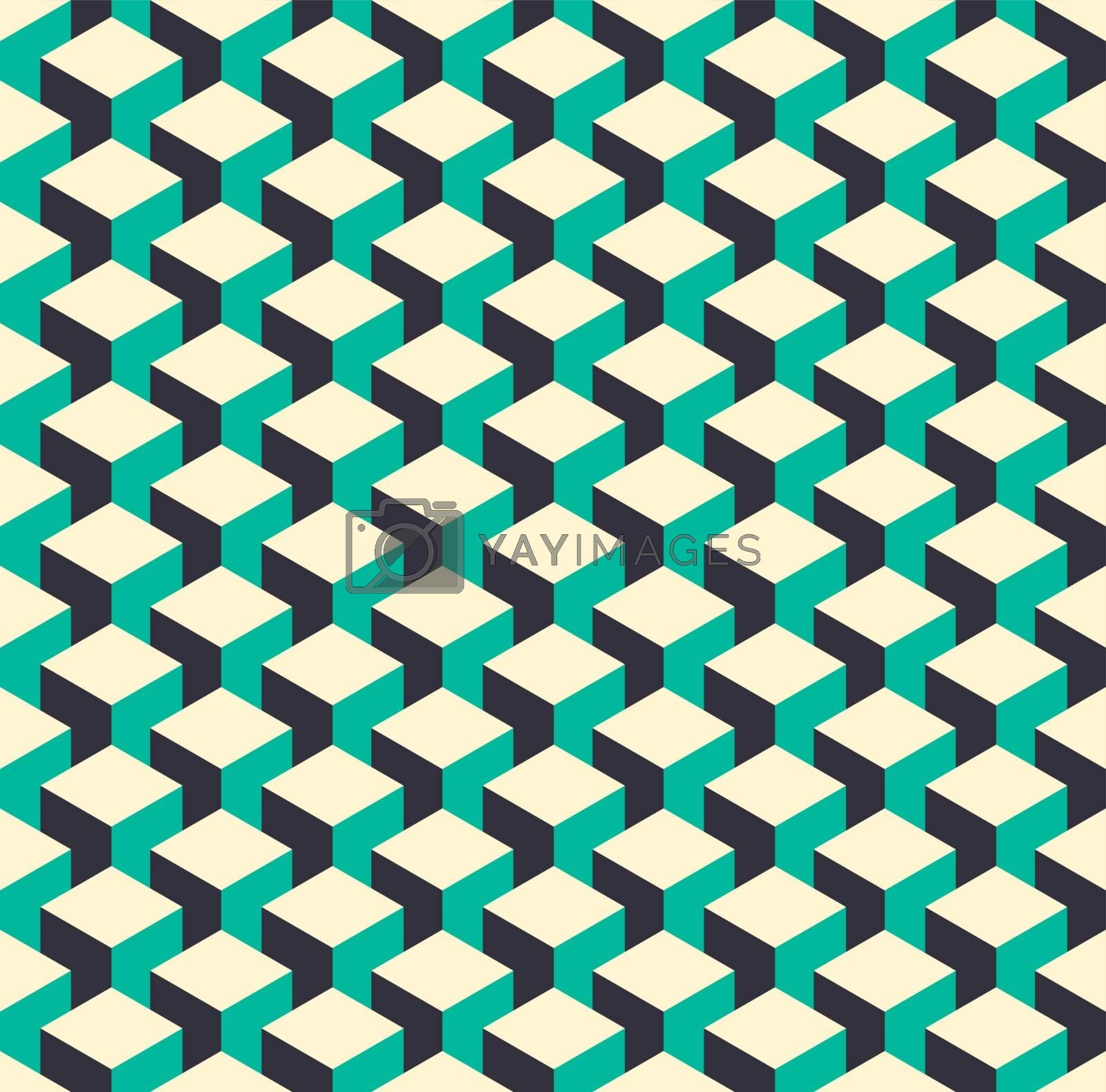 Royalty free image of Abstract isometric 3d retro cube pattern background by cienpies