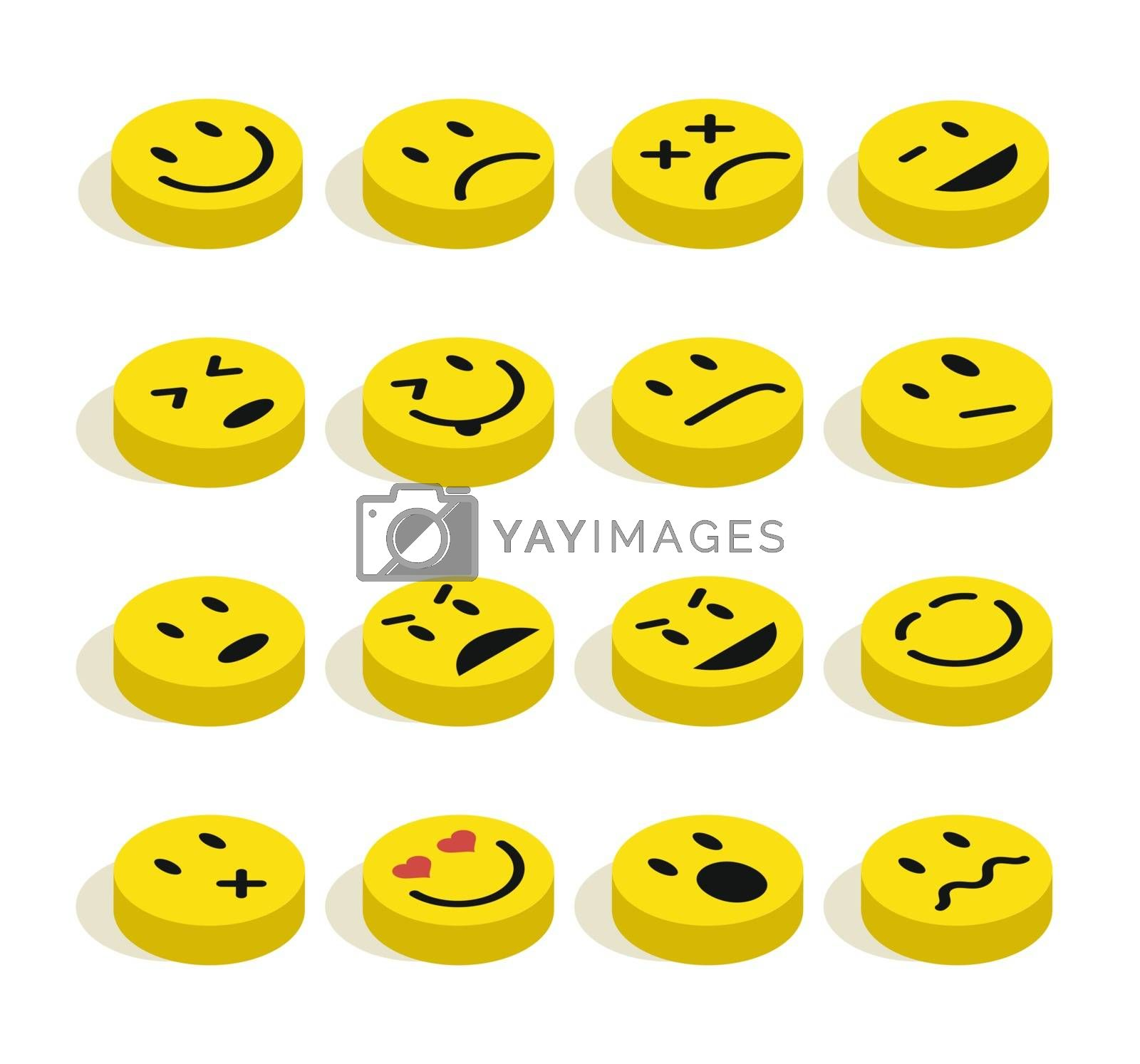 Royalty free image of Flat isometric Emoticons set illustration by cienpies