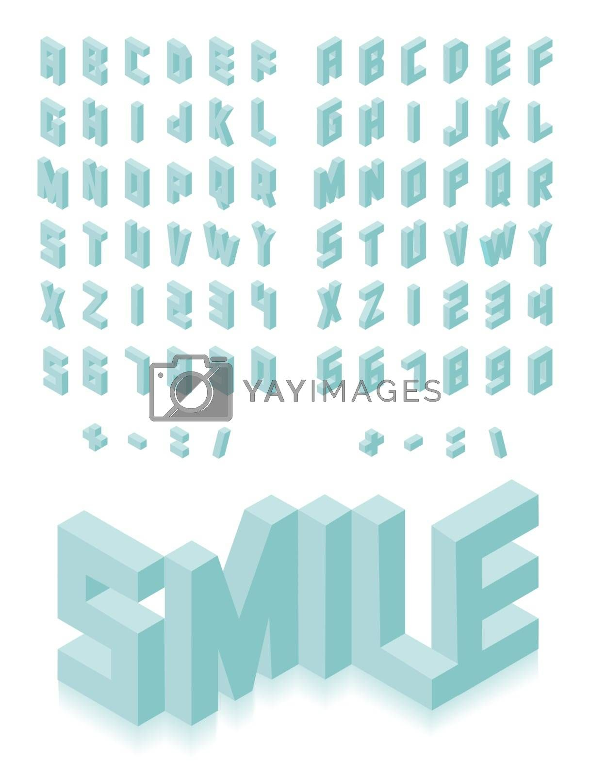 Royalty free image of Isometric 3d type font set by cienpies