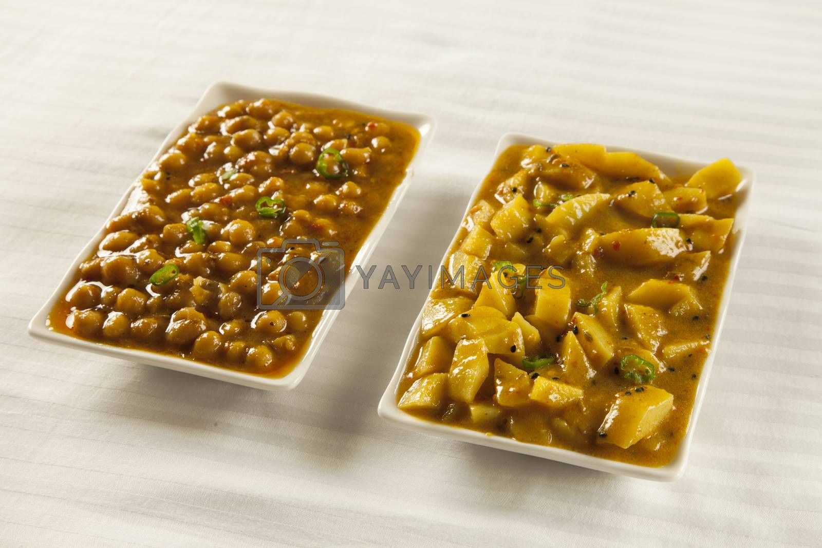 Royalty free image of Indian/Pakistani cuisine Aaloo bhujia and Channa  by haiderazim