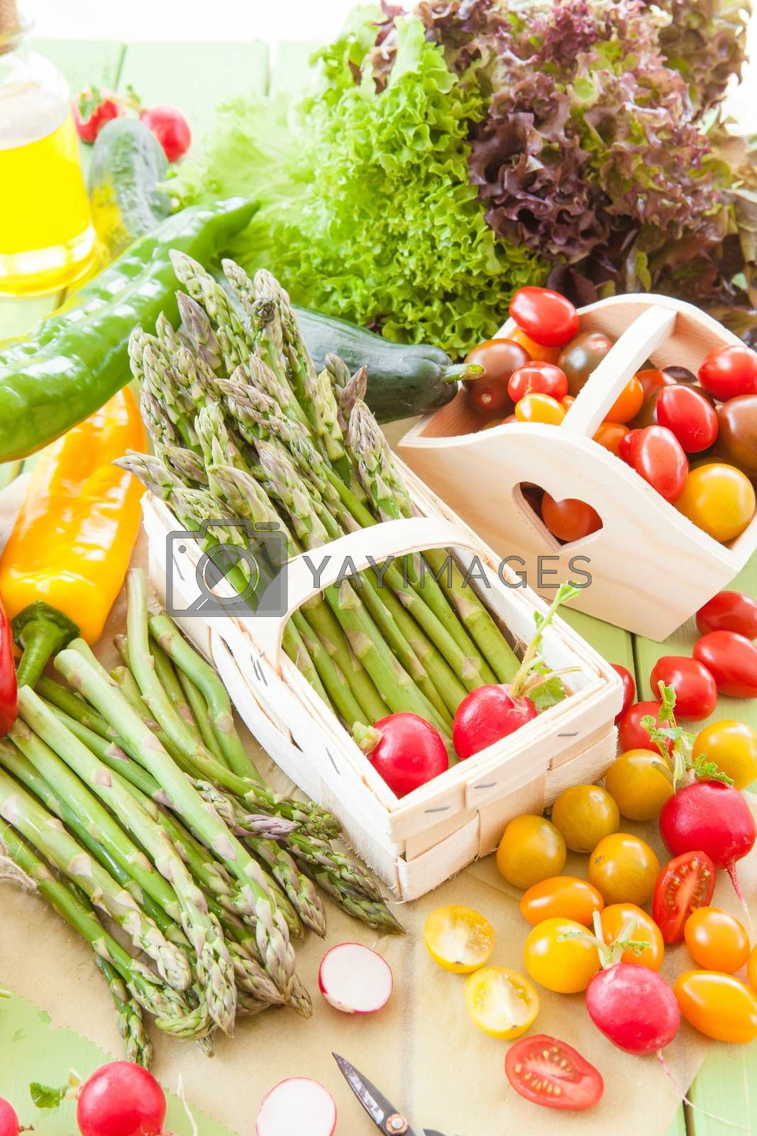 Green asparagus and other fresh vegetables by BarbaraNeveu