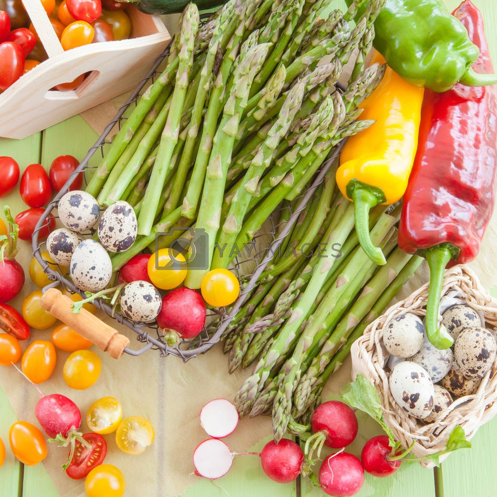 Royalty free image of Green asparagus and other fresh vegetables by BarbaraNeveu