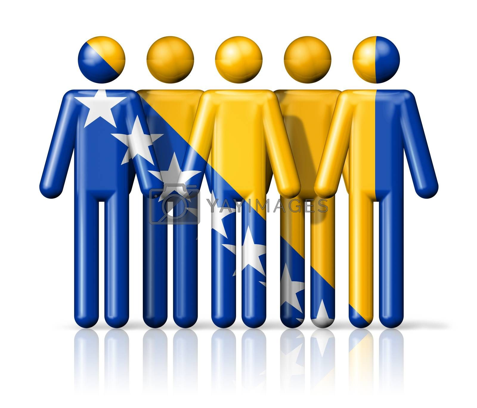 Royalty free image of Flag of Bosnia and Herzegovina on stick figure by daboost