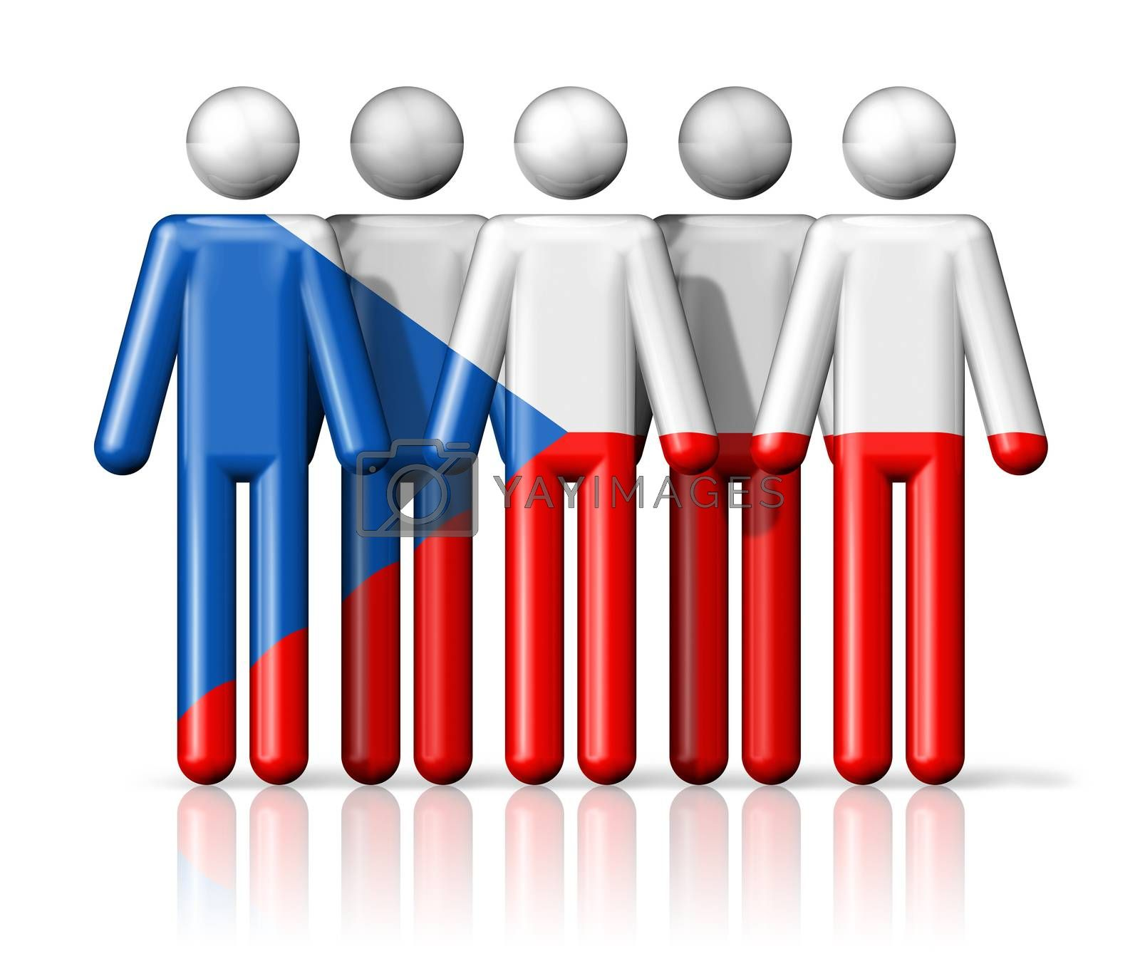 Royalty free image of Flag of Czech Republic on stick figure by daboost