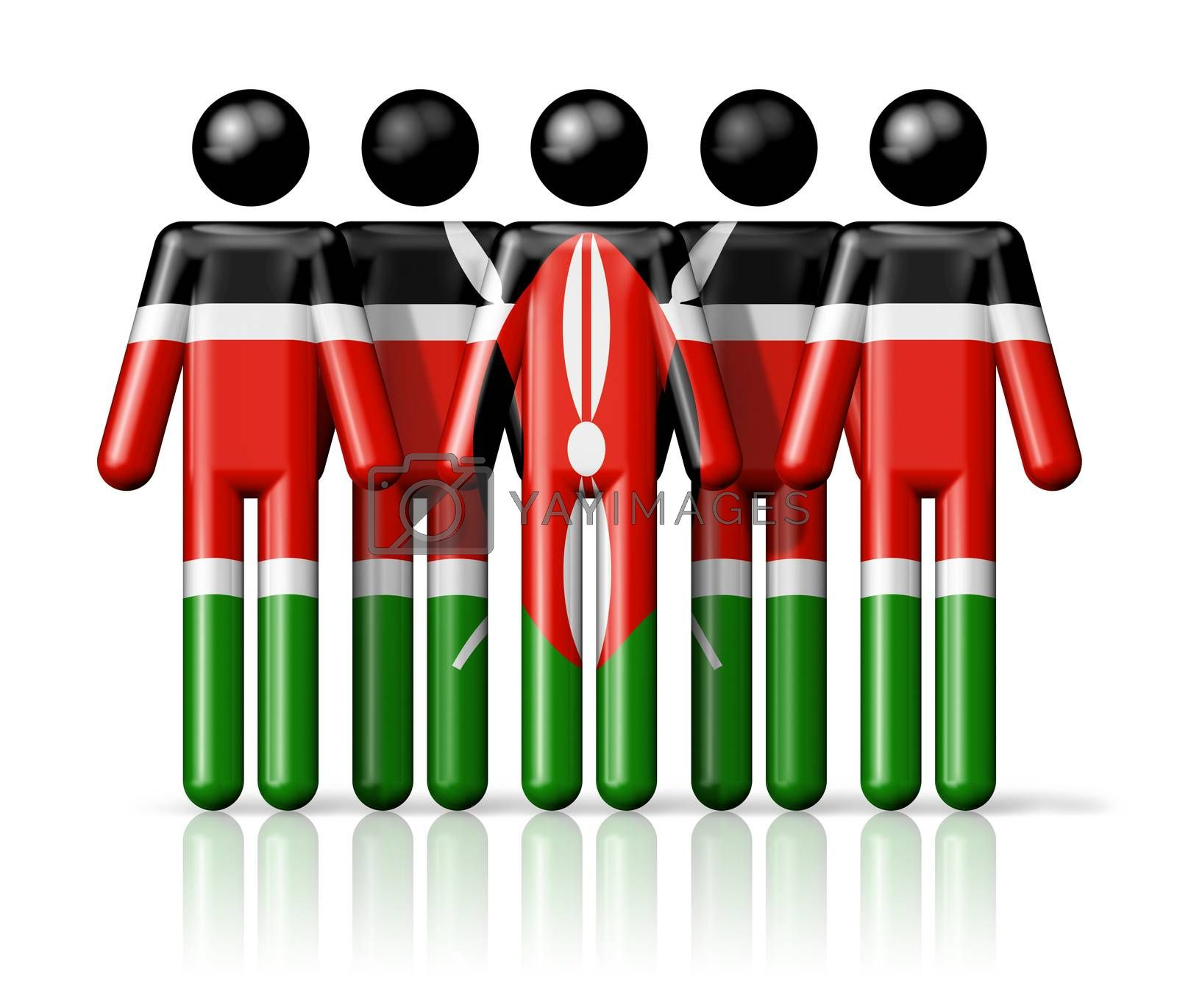 Royalty free image of Flag of Kenya on stick figure by daboost