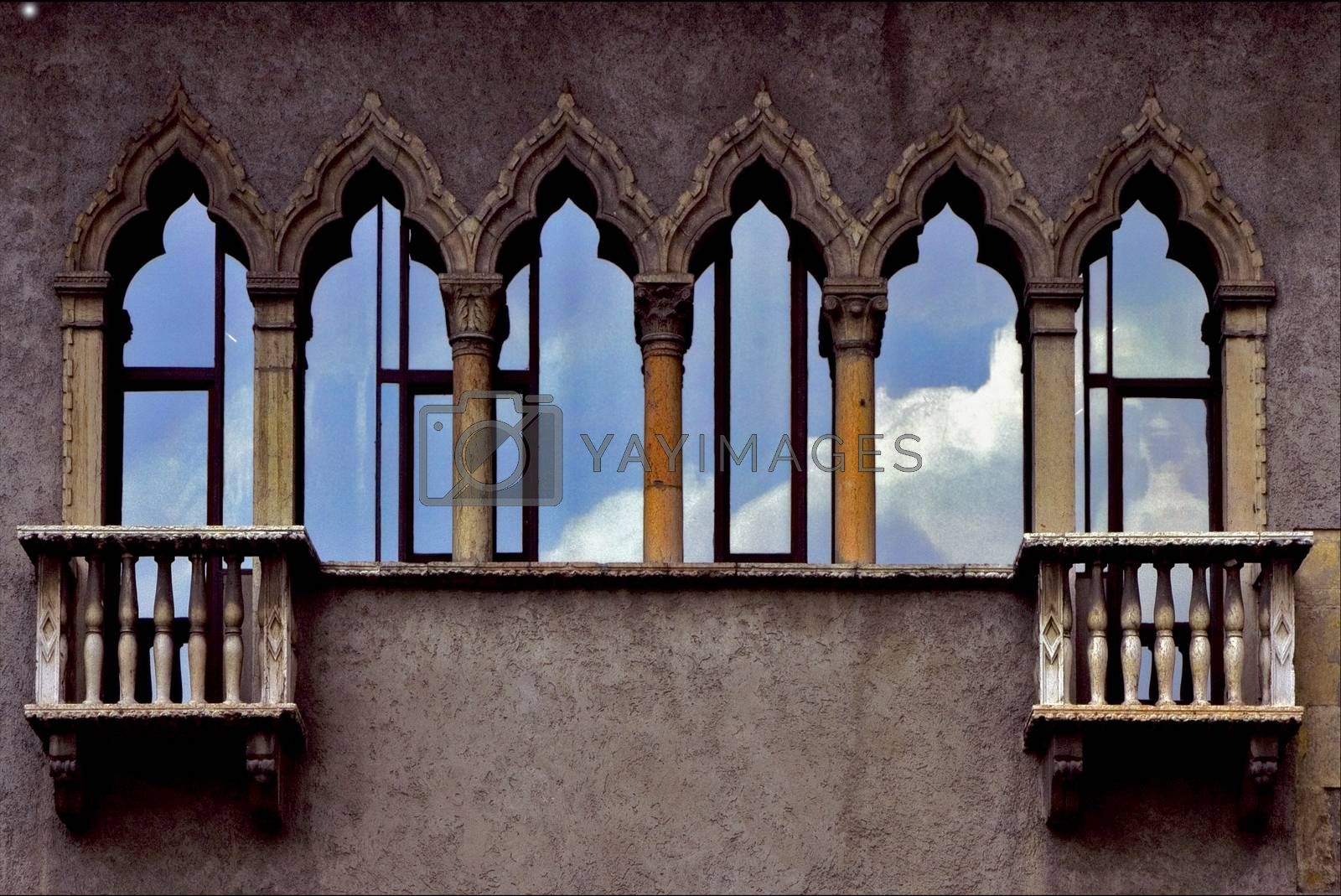 Royalty free image of old terrace and glass in verona italy by lkpro