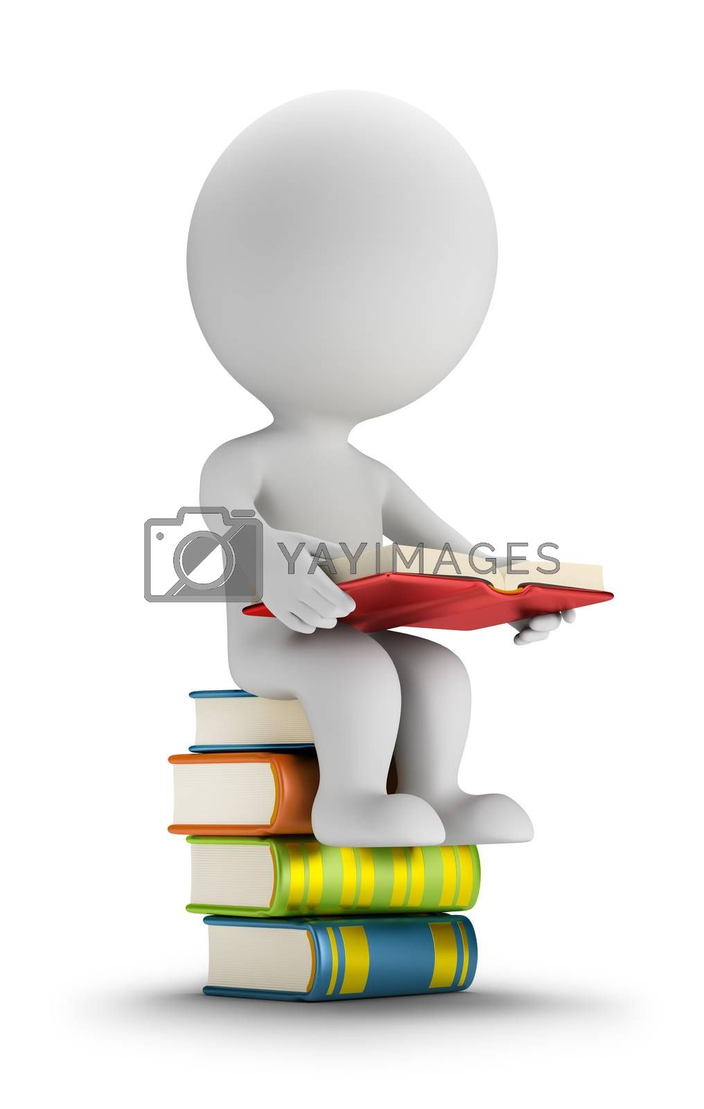 Royalty free image of 3d small people sitting on the books by Anatoly
