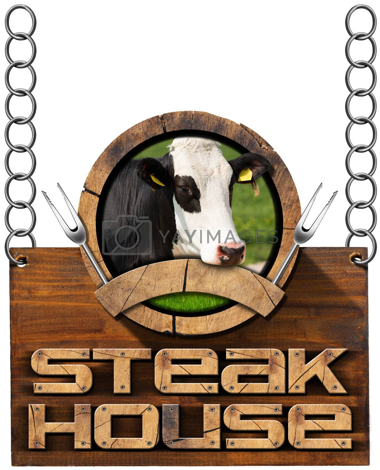 Royalty free image of Steak House - Sign with Chain by catalby