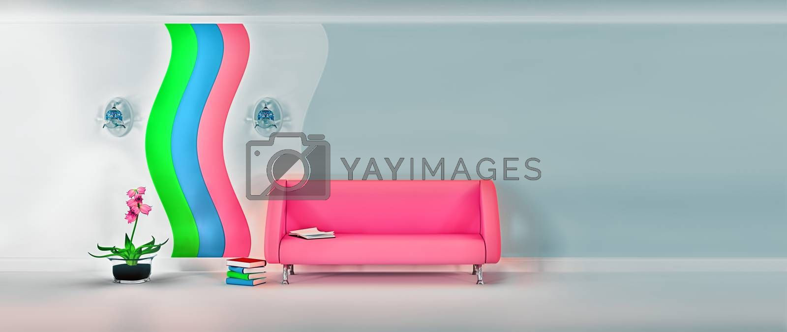 Empty sunny stylish minimalist modern living room with pink sofa, sconce, pink flower and grey wall on the picture with the proportions of 21:9. 3D rendering.