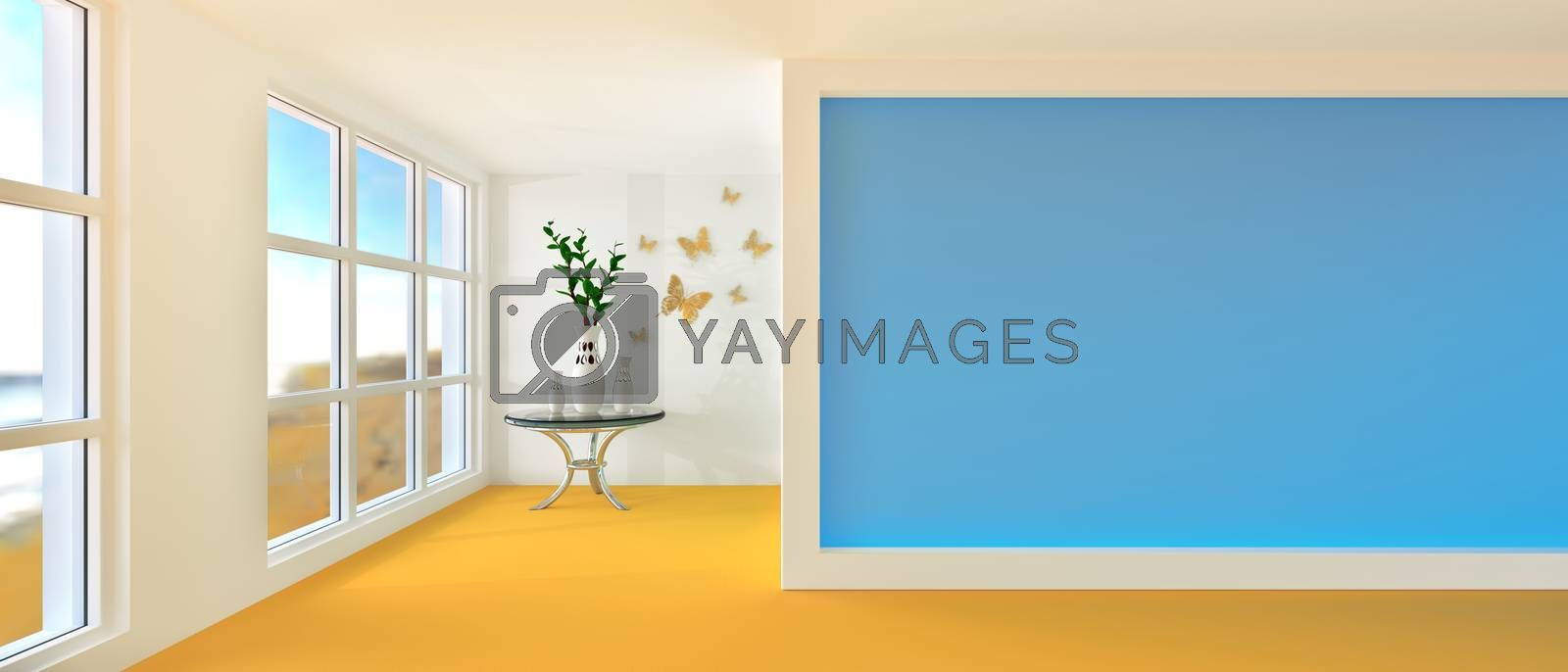 Empty sunny stylish minimalist modern room with three jugs and coffee table. 3D rendering.