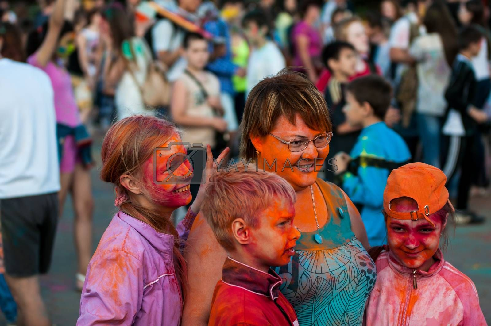 Orenburg, Russia - 13 June 2015: Young people at the Festival of paint holi