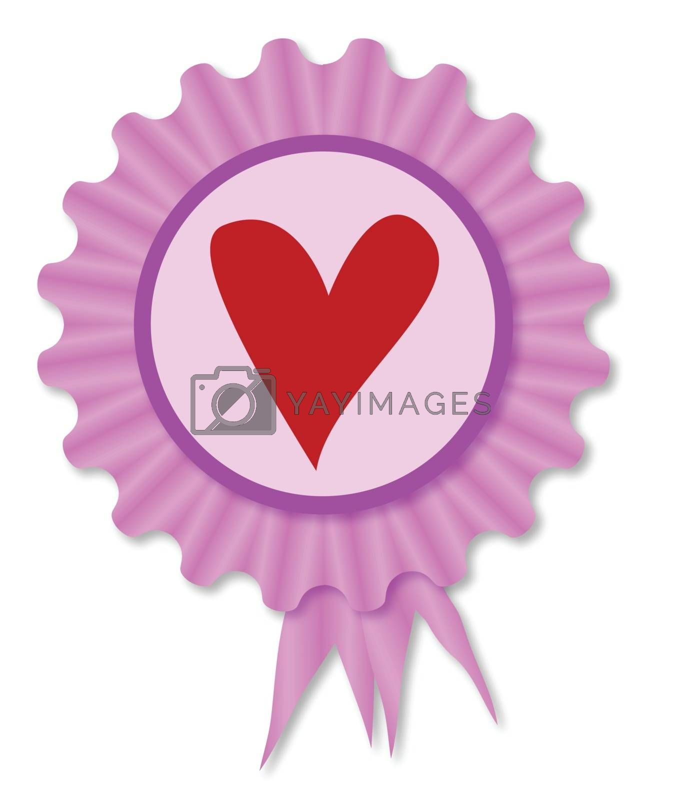 Pink and purple rosette with a red heart inset