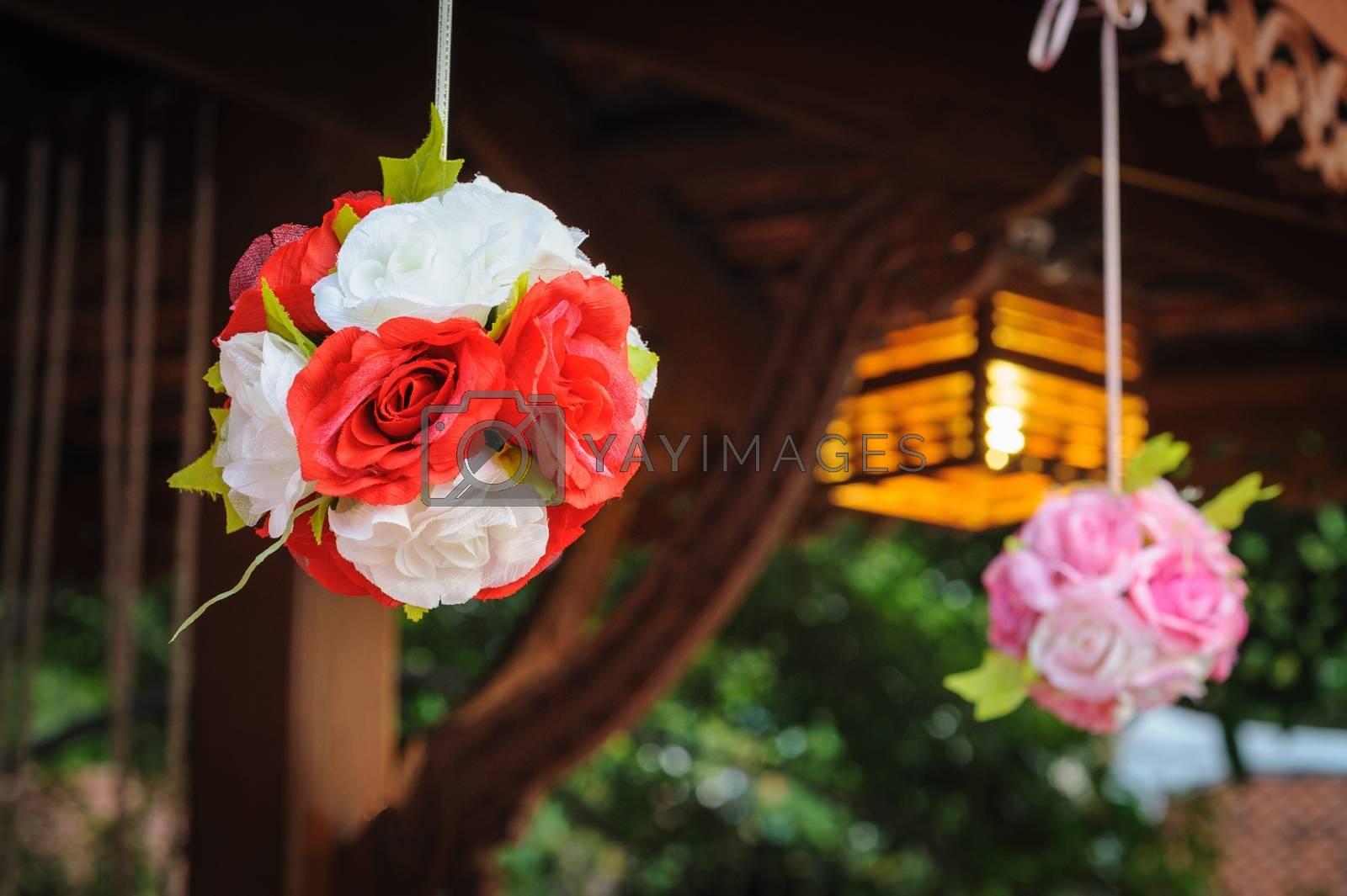 Bouquet of artificial flowers in resort