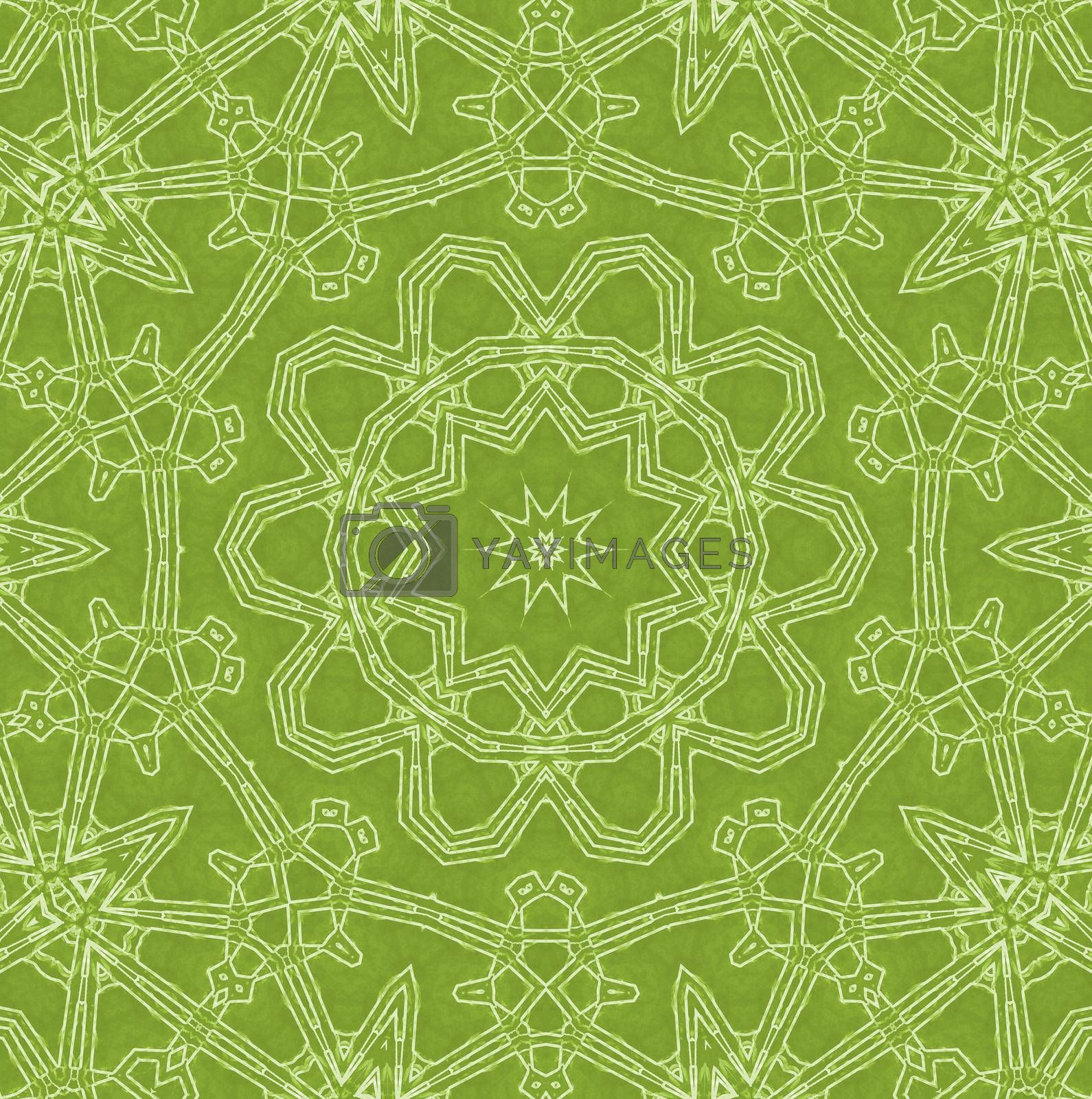 Abstract white pattern on green background