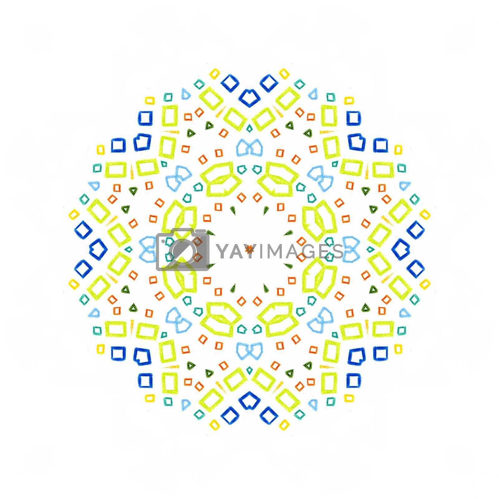 White background with color concentric pattern shape