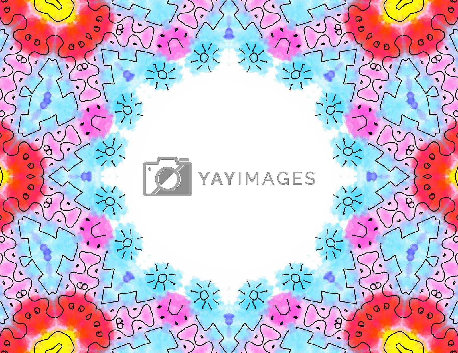 Abstract color pattern frame on white background