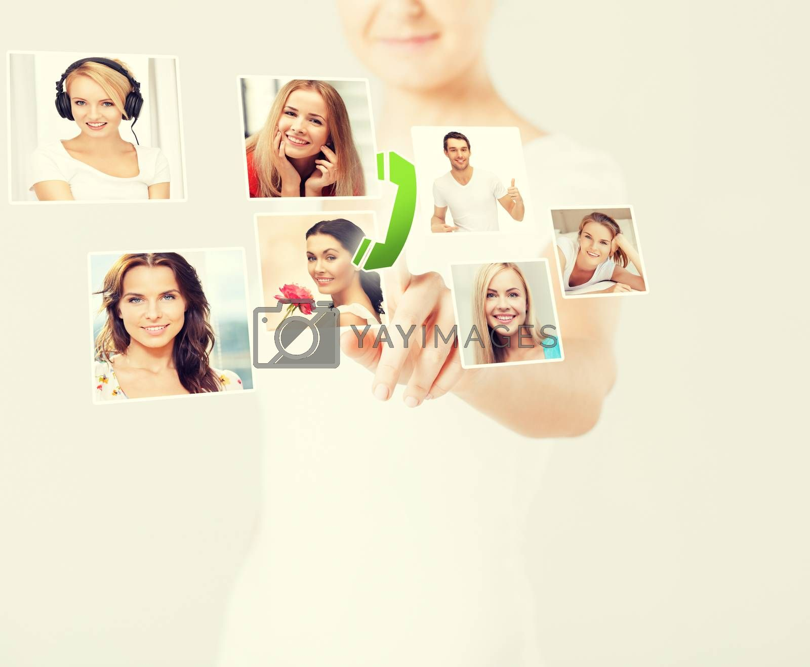 woman with virtual screen and contact icons by dolgachov