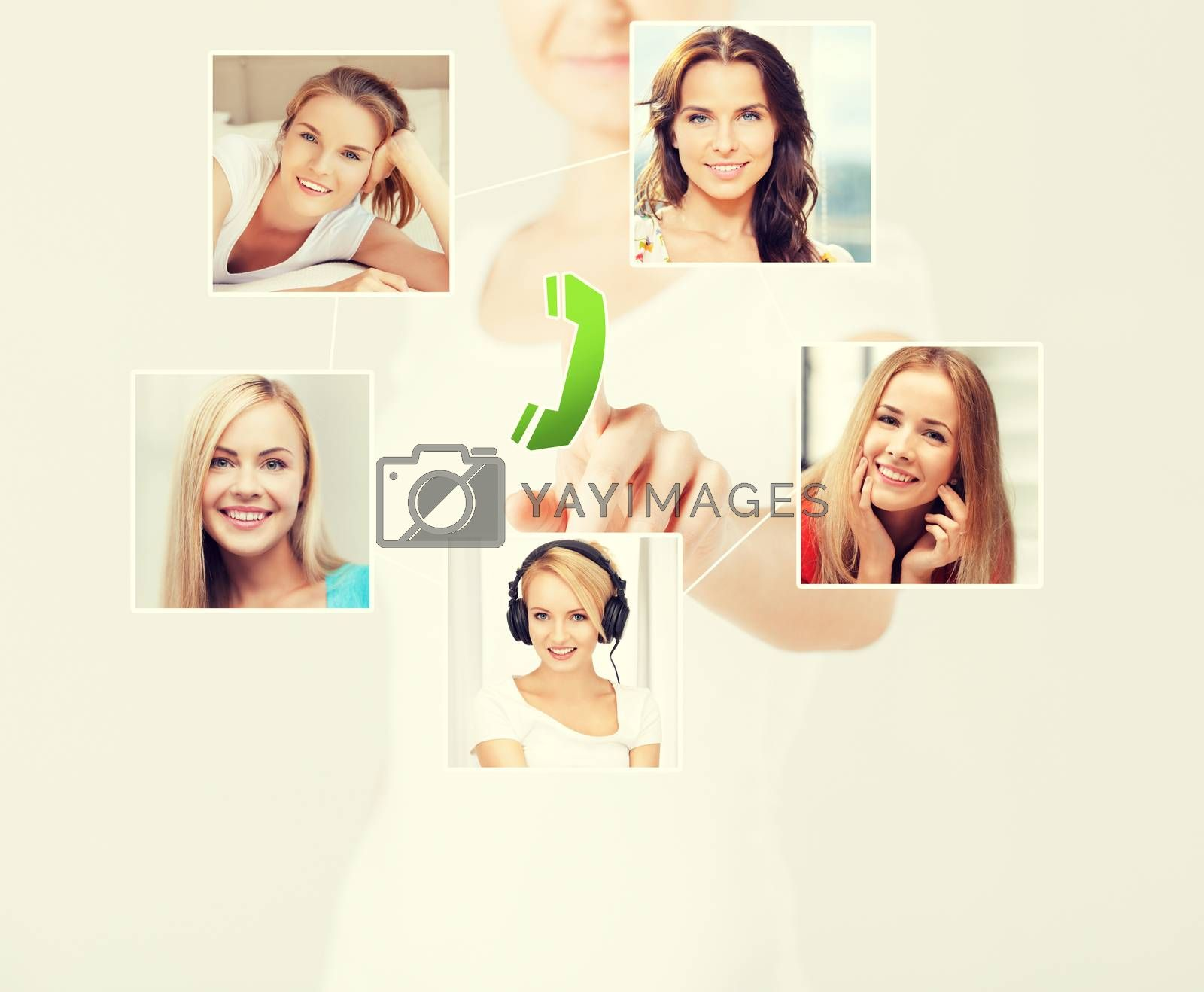 technology and communication - woman pressing button on virtual screen with contact icons