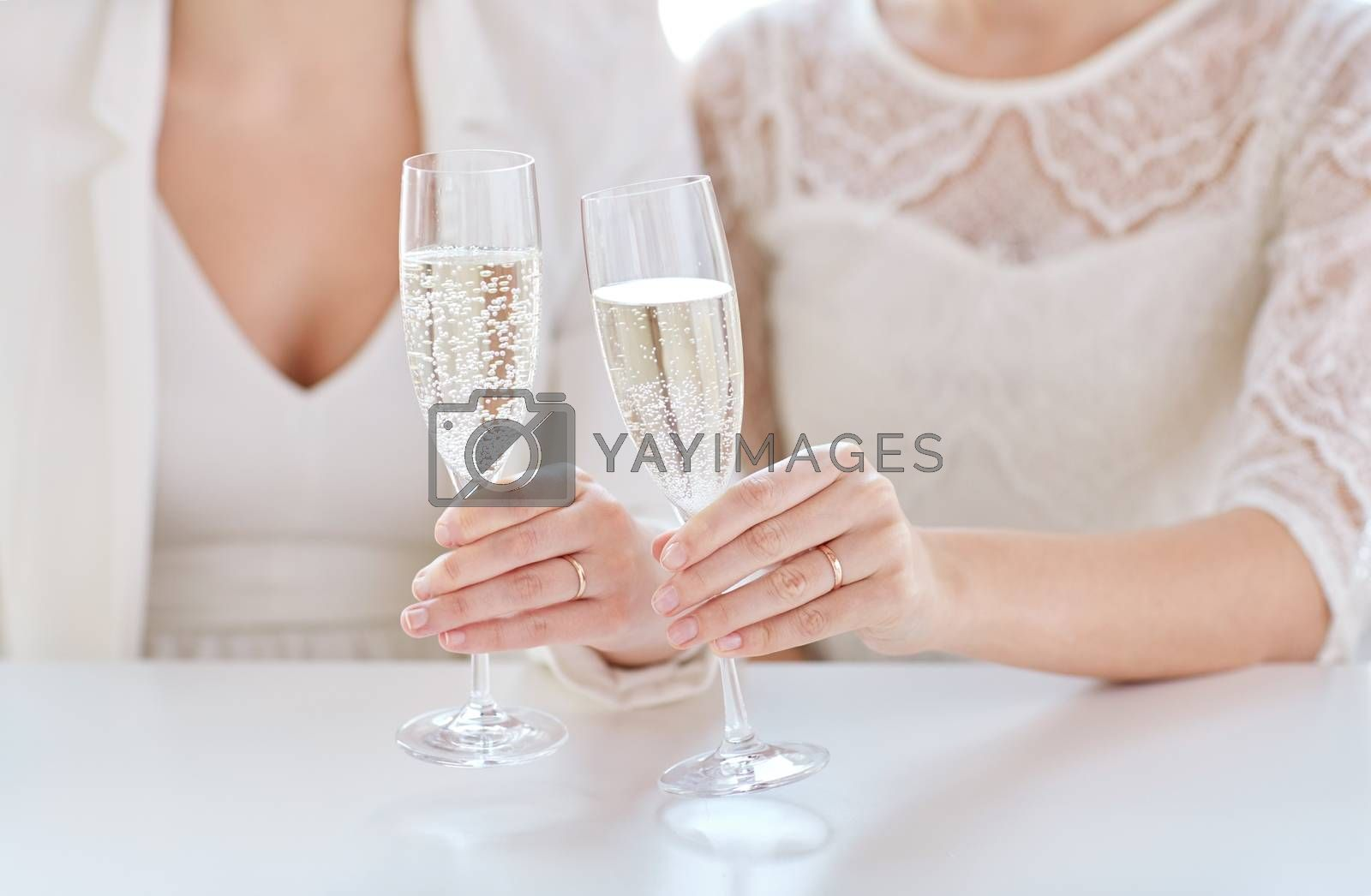 people, homosexuality, same-sex marriage, celebration and love concept - close up of happy married lesbian couple hands holding champagne glasses