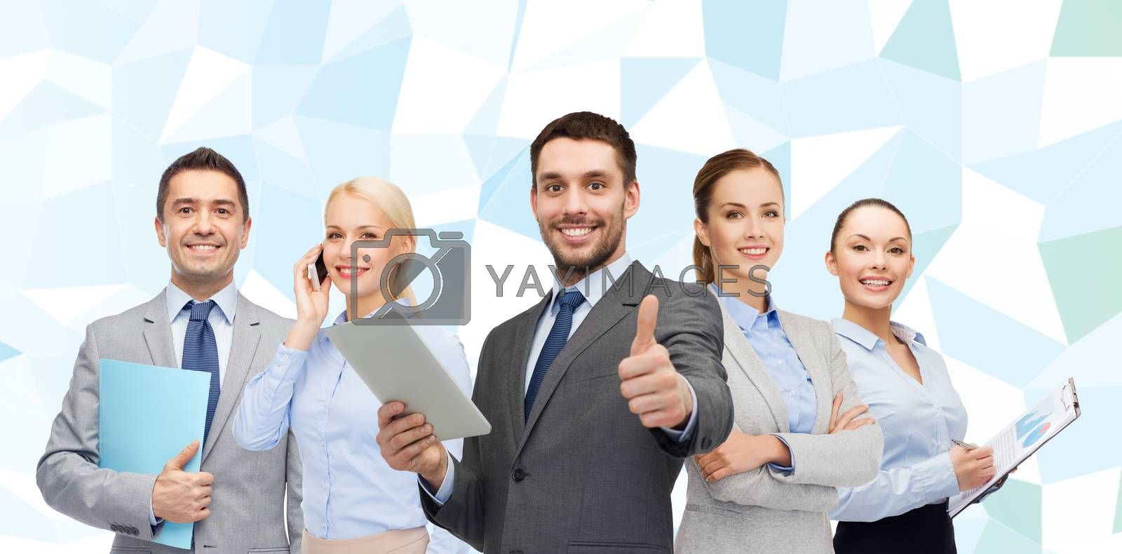 business, people, gesture and office concept - group of smiling businessmen showing thumbs up over blue low poly background