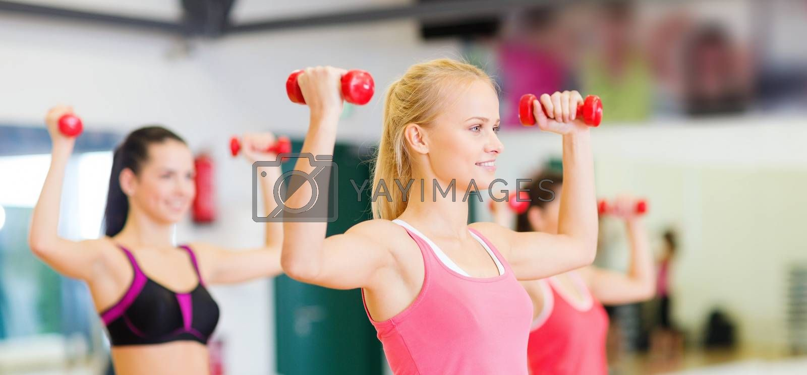 fitness, sport, training, gym and lifestyle concept - group of smiling women working out with dumbbells in the gym