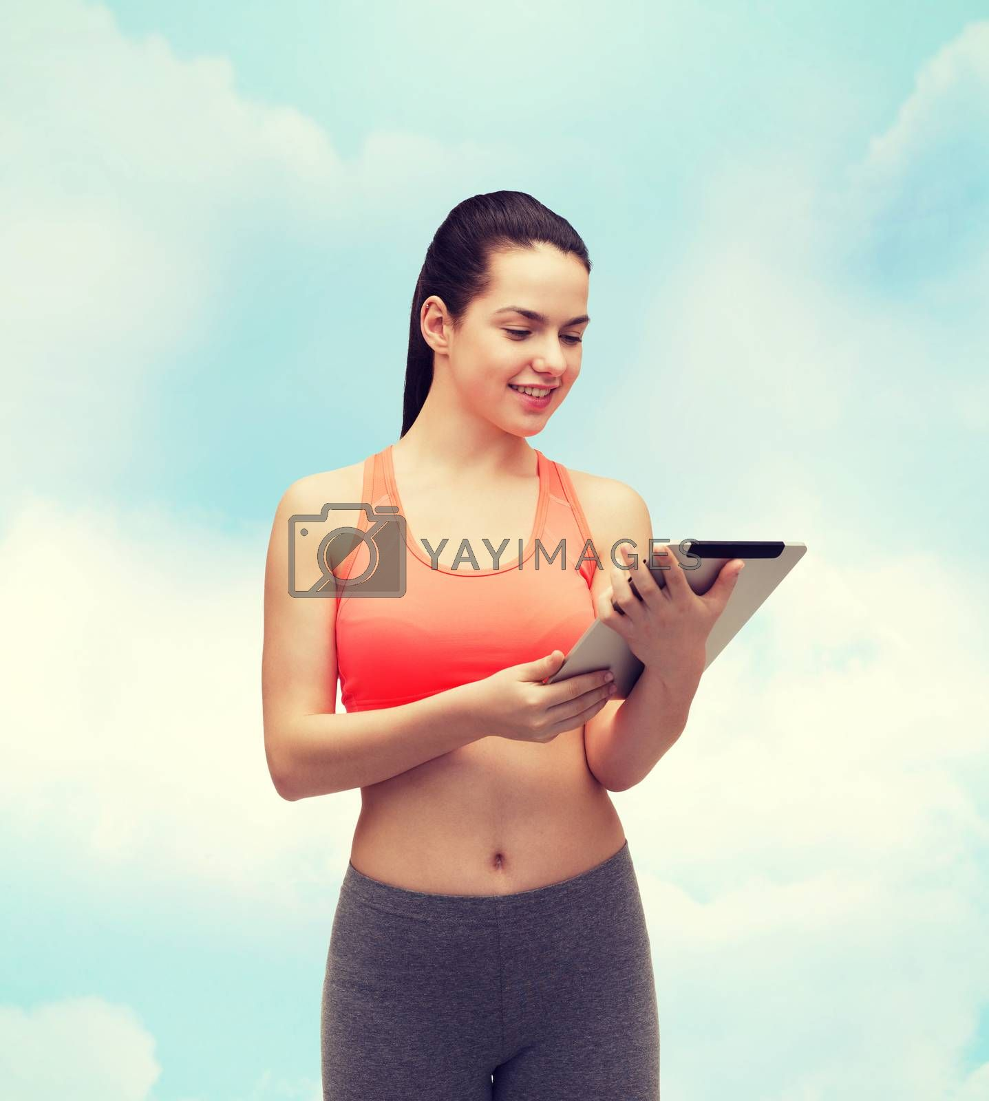sport, exercise, technology, internet and healthcare - sporty woman with tablet pc computer