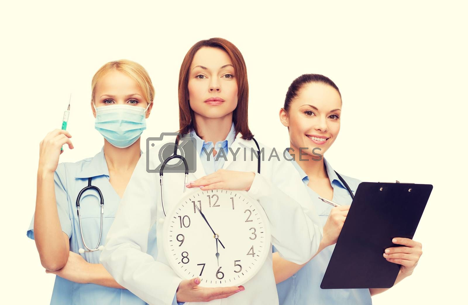 healthcare and medicine concept - calm female doctor and nurses with wall clock and stethoscope