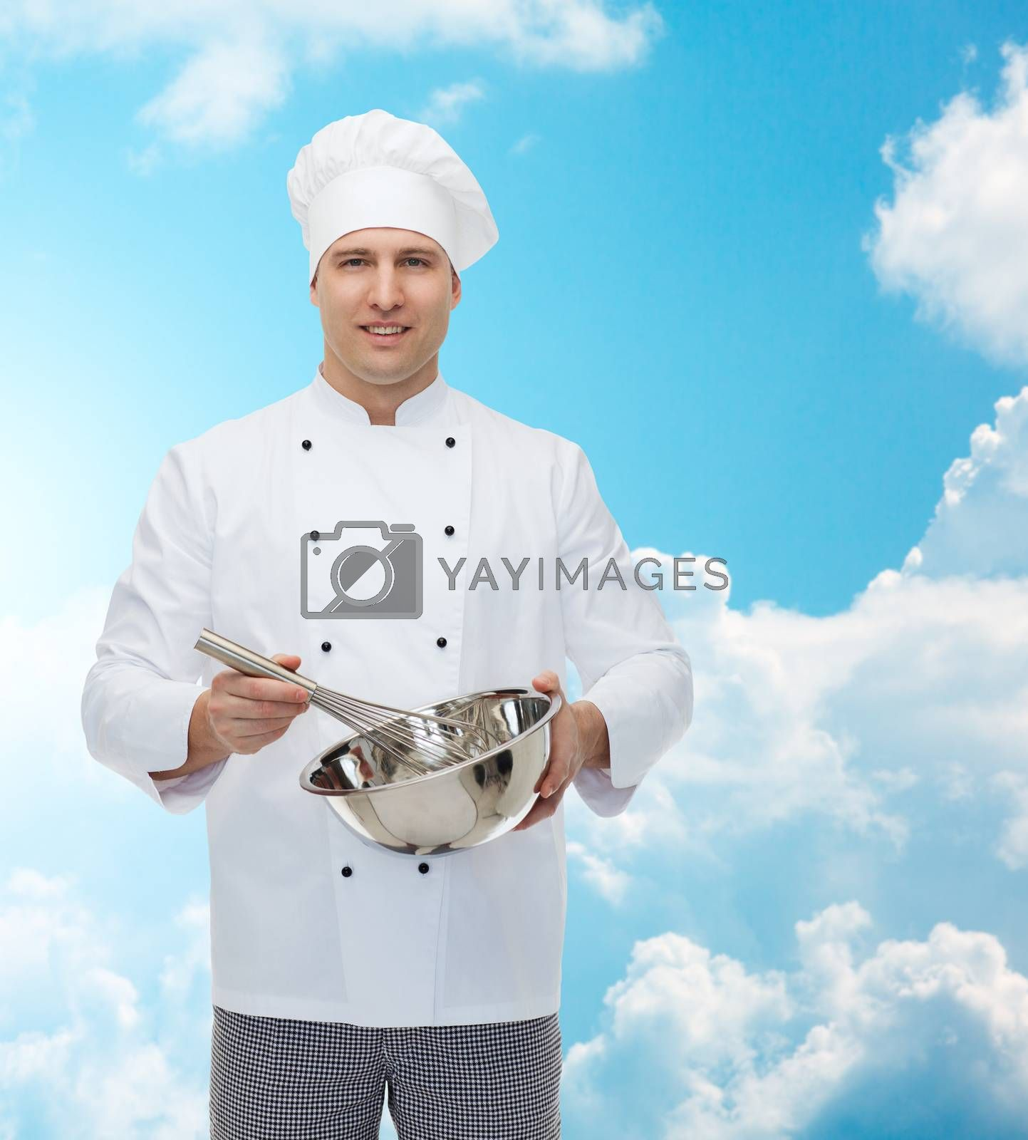cooking, profession and people concept - happy male chef cook holding bowl and whipping something with whisk over blue sky with clouds background