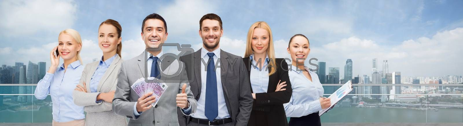 business, people and finances concept - group of smiling businessman with american dollar money